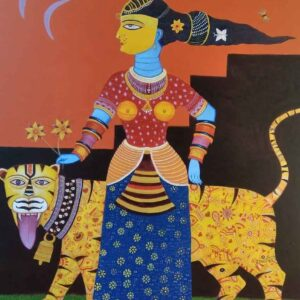 Painting on canvas of lady with tiger
