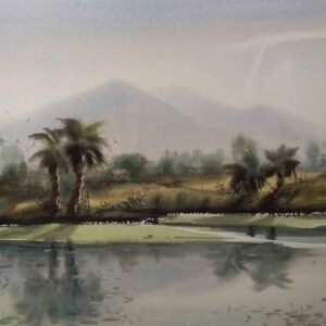 Painting on paper of landscape