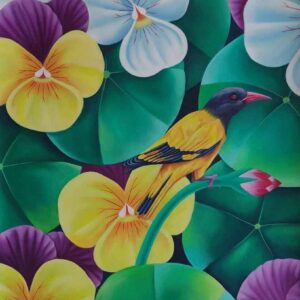 Painting of bird and flowers on canvas