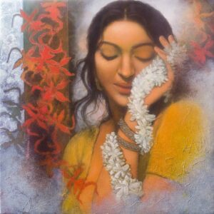 Painting on canvas of woman with flowers