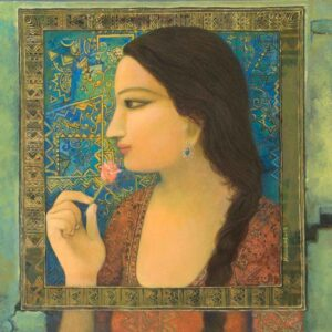 Painting on canvas of woman with flower with