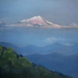 Painting of mountain on canvas
