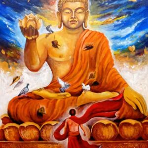 Painting of Buddha on canvas