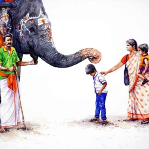 Painting on paper of elephant blessing a boy