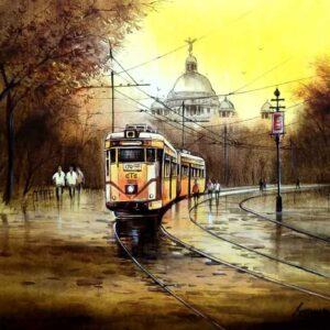 Painting of Kolkata tram on canvas