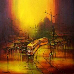 Painting of Kolkata city on canvas