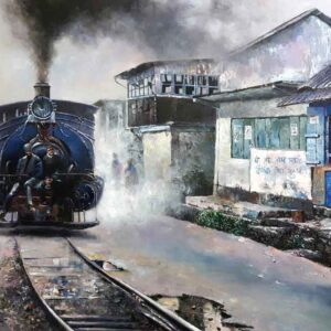 Painting of toy train on canvas
