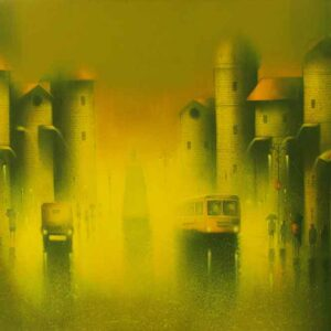 Painting of cityscape on canvas