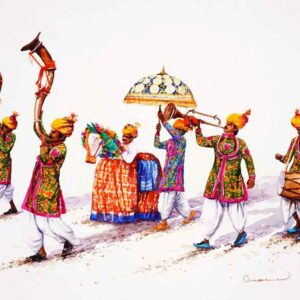 Painting on paper of a south Indian procession .