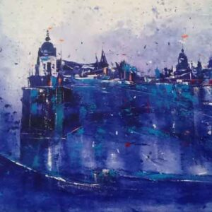 Blue abstract painting on canvas