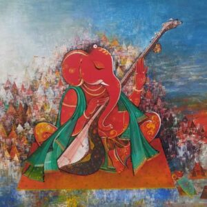 Painting of Ganesh on Benaras Ghat