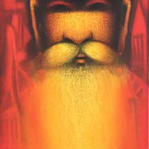 Painting of a sadhu on canvas