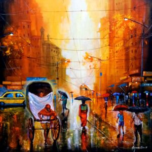 Painting of rainy day in the city on canvas
