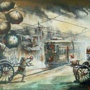 Painting of rickshaw and tram on canvas