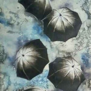 Painting of rickshaw and umbrellas on paper