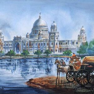Painting of Victoria Memorial on canvas