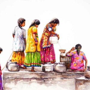Painting on paper of women at work