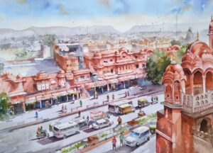 Painting on paper of cityscape