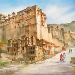 Painting on paper of Bundi fort