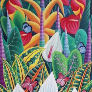 Painting of flora and fauna on canvas