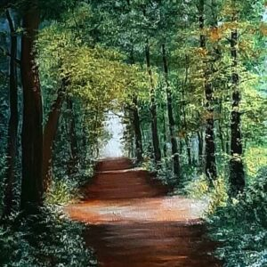 Painting of a forest on canvas