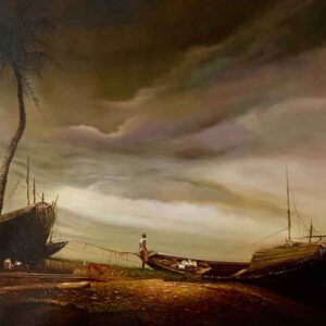Landscape with boat on canvas