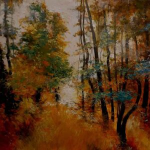 Painting of a colourful forest on paper