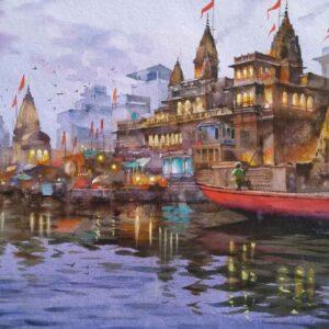 Painting on paper of Benaras Ghat