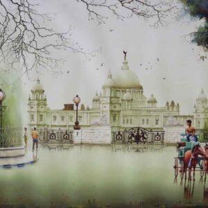 Painting of Kolkata cityscape on paper