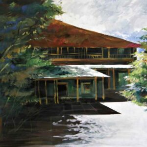 Painting on canvas of a house in the woods