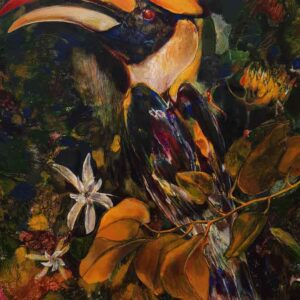 Painting of a bird on canvas