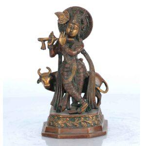 Chola inspired Krishna statue in brass