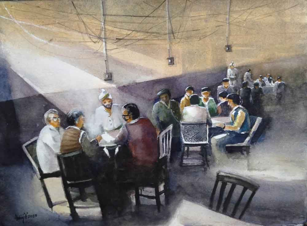 Painting on paper of Kolkata coffee house