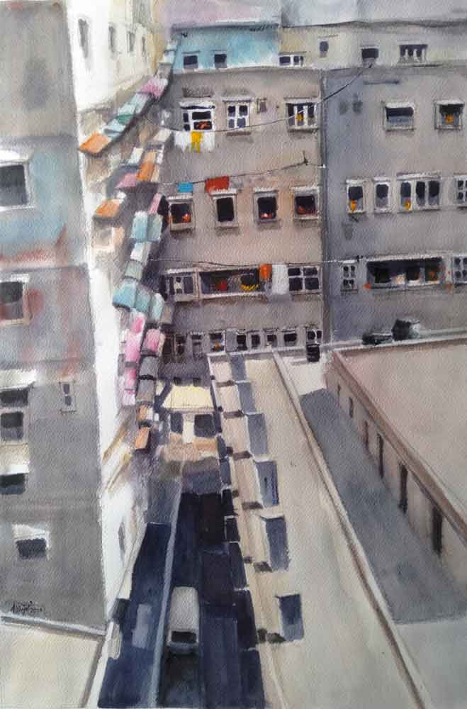 Painting on paper of houses