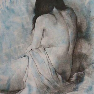 Painting in charcoal of woman on paper