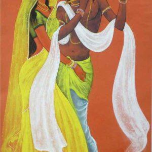 Painting on paper of Radha and Krishna