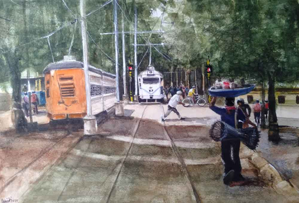 Painting on paper of a tram in Kolkata