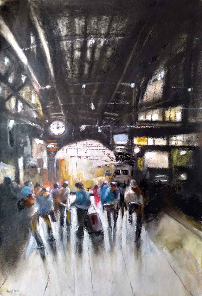 Painting on paper of railway station platform