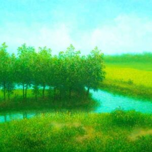 Painting of landscape on canvas