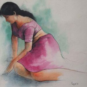 Painting on paper of woman