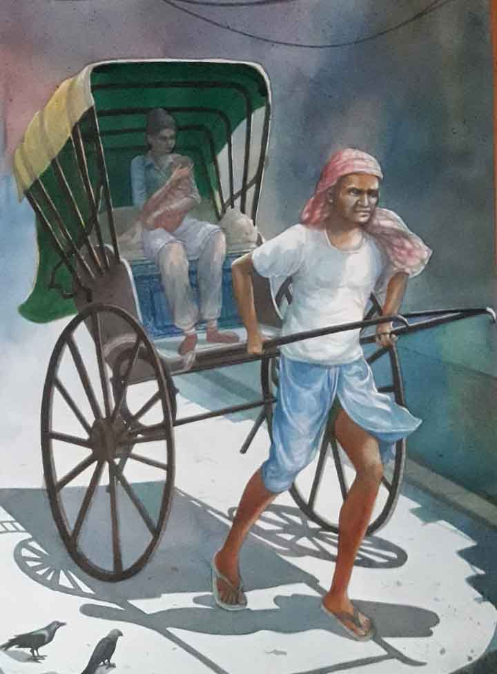Painting on paper of rickshaw puller.