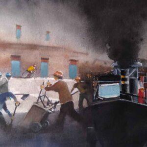 Painting on paper of road repair in Kolkata