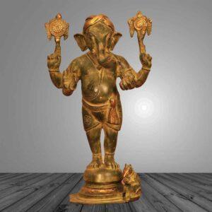 Brass statue of standing bal ganesh