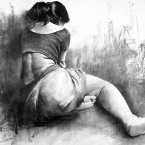 Charcoal painting on paper of woman