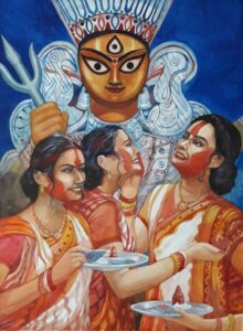 Painting on paper of women smearing vermillion after Durga Puja