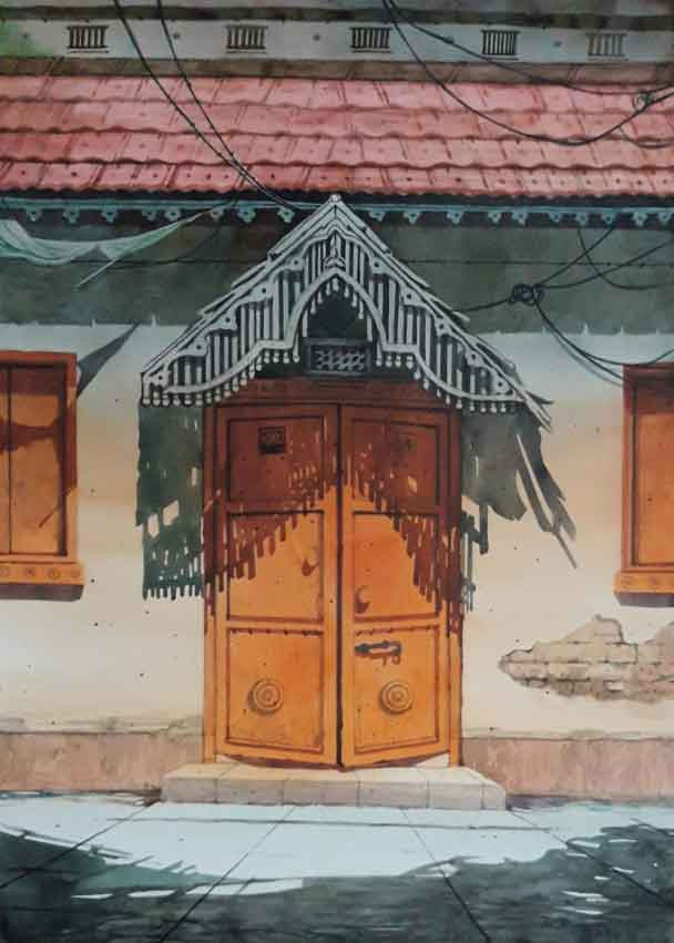 Painting on paper of a door in Rajasthan