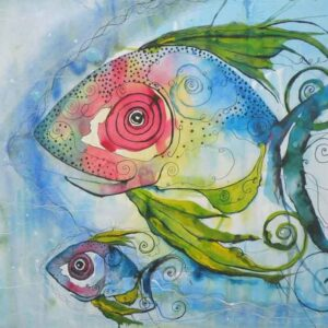 Painting on paper of fish