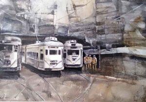 Painting on paper of Kolkata tram