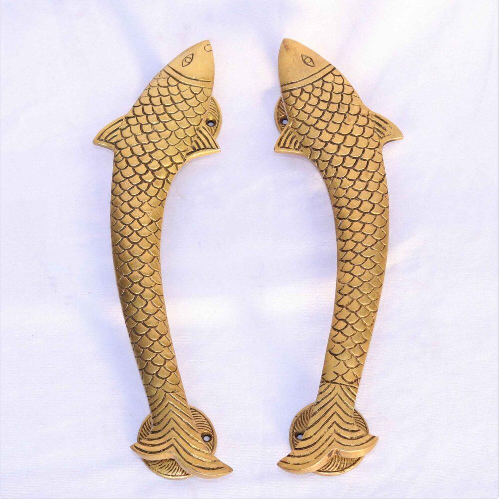 Brass fish door handles