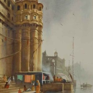 Painting on paper with watercolour of Benaras